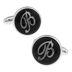 Round Black Letter B Pattern Noble Cufflinks Gift Box Package