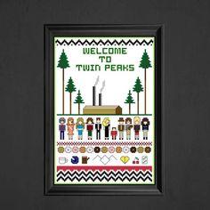 Twin Peaks Cross Stitch Pattern via Etsy