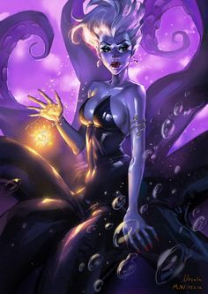 (SD) Ursula by Minwoo Kim on ArtStation Evil Disney, Disney Kunst, Disney Fan Art, Disney Love, Fantasy Kunst, Dark Fantasy Art, Disney Drawings, Cartoon Drawings, Drawing Disney