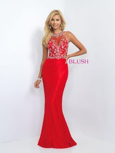 Jersey knit column sheath featuring a lace overlay bodice with jewel neckline and key hole back Blush Prom