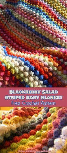 Blackberry Salad Striped Baby Blanket [Free Crochet Pattern] #freecrochetpatterns #babyblanket #crochetblanket #babyboy #babygirl