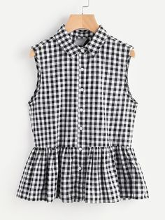 Shop Split Bow Back Button Up Gingham Peplum Blouse online. SheIn offers Split Bow Back Button Up Gingham Peplum Blouse & more to fit your fashionable needs. Kids Outfits, Cute Outfits, Girl Fashion, Fashion Outfits, Pakistani Dress Design, Peplum Blouse, Diy Clothes, Blouse Designs, Shirt Style
