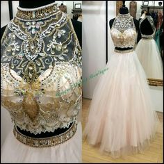 Ball Gowns 2016 Two Pieces Prom Dresses With Open Back And Beaded High Collar Actual Pictures Beading Crystals Tulle Ball Gown Sweet 15 Gowns Long Dresses From Nicedressonline, $187.81| Dhgate.Com