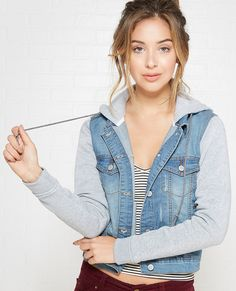 SWEATSHIRT SLEEVE HOODED DENIM JACKET | Express | Fazy LAZY daze ...