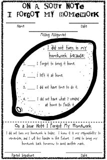 Cute idea for missed homework slips when students dont complete their homework!