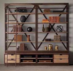 biblioteca estanteria, hierro y madera. industrial. leblock