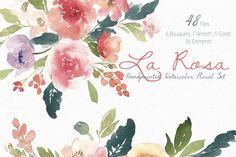 La Rosa- Watercolor Floral Set by SmallHouseBigPony1 on @creativemarket
