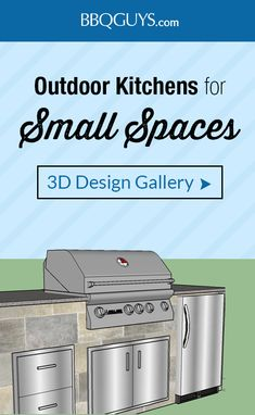 Want to build an outdoor kitchen but don't have much space? These small spaces typically include a gas grill, access doors and drawers, and a side burner. You may not think you have room, let our experts guide you through what exactly would work in your s Outdoor Kitchen Plans, Outdoor Kitchen Design, Outdoor Kitchens, Patio Grill, Backyard Bbq, Small Space Kitchen, Small Spaces, Small Bbq, Outdoor Grill Station