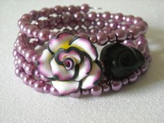 Day of the Dead Black Skull Polymer Clay Rose by OctoberPetals, $19.25