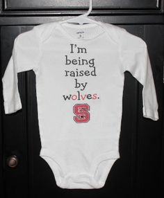 Raised by Wolves NC state. This popular NC State onesie is available in a onesie or toddler shirt. $16. Check this and many other designs out at www.polkadautz.com