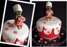 Christmas - Kiss the cook!     Gingerbread cook on Christmas cake.    I made the 'cookies' also of fondant.