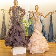 Make a royal entry with these glamorous gowns fit for a modern princess by Shop the designer's India Couture Week collection, exclusively at Aza, Bandra. Glam Dresses, Elegant Dresses, Bridal Dresses, Indian Bridal Outfits, Indian Dresses, Skirt Fashion, Fashion Dresses, Gown Party Wear, Bridesmaid Saree