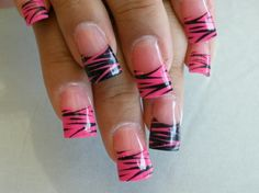 Black and Hot Pink French Tips