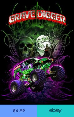 """Feld Motorsports produces the Monster Jam series and is the licensee for the """" Grave Digger """" monster truck. This shirt was designed and illustrated for a dye sublimation printed team / crew shirt. Monster Truck Jam, Monster Truck Birthday, Lego Birthday, Rc Trucks, Cool Trucks, Chevy Trucks, Cool Cars, Truck Drivers, Fun Diy Crafts"""