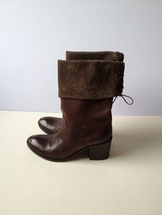Women Brown Leather and Suede Boots/ Vintage Half by Tukvintage, £55.00