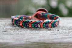 Multicolored Macrame Hemp Bracelet - Coral, Purple, Green, Grey on Etsy, $7.00