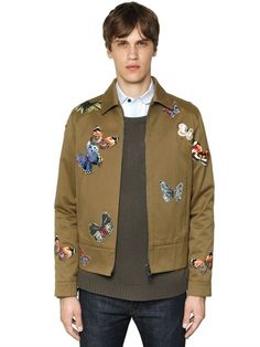 VALENTINO - BUTTERFLY PATCHES ON COTTON TWILL JACKET - LUISAVIAROMA - LUXURY SHOPPING WORLDWIDE SHIPPING - FLORENCE