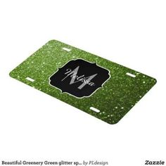 Beautiful Greenery Green glitter sparkles Monogram License Plate by #PLdesign #greenery #sparkles #SparklesGift