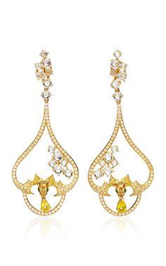 Orange Sapphire Earrings by Wendy Yue for Preorder on Moda Operandi