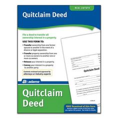Adams Business Forms Quitclaim Deed Forms and Instruction (Set of 6)