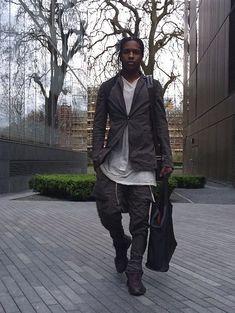 ASAP Rocky Wears Rick Owens Blazer, Cargo Pants and Sneakers in London | UpscaleHype