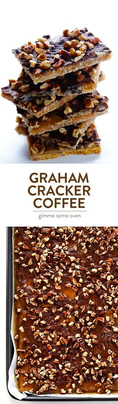 This delicious Graham Cracker Toffee recipe is super quick and easy to make, requires just 5 ingredients, and it\'s sooooo irresistible!! | gimmesomeoven.com