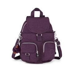 Kipling Women's Firefly Medium Backpack - Plum Purple ($96) ❤ liked on Polyvore featuring bags, backpacks, backpack bags, kipling backpack, padded backpack, detachable key ring and padded bag