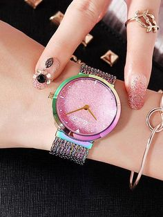 Women's Watch Shiny green large dial with full diamond tassel strap women's clothing watch - watches for girls wrist - Trendy Watches, Big Watches, Elegant Watches, Beautiful Watches, Sport Watches, Luxury Watches, Cool Watches, Watches For Men, Popular Watches