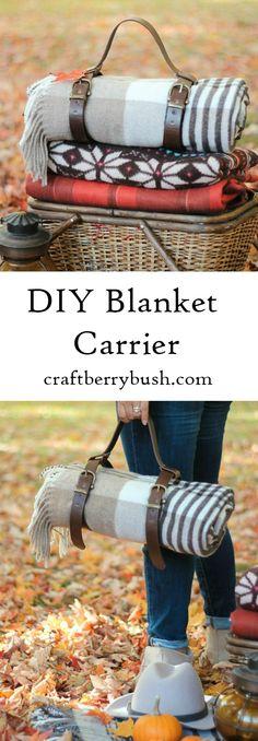 Craftberry Bush | Leather Blanket Carrier DIY | http://www.craftberrybush.com