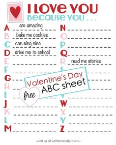 Here's a free Valentine's Day ABC Sheet to share! free valentine printables kids