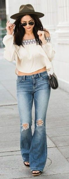 #spring #fashionistas #outfit #ideas |Ethnic touch off the shoulder top + denim flares |Love by Lynn