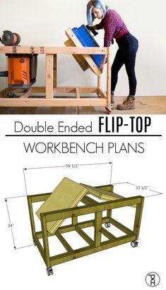 Woodworking Shop Double Ended Flip-Top Workbench Plans - Video Tutorial - How to build a sturdy, double ended flip-top workbench from inexpensive materials. Designed to accommodate those large and heavy workbench tools like a thickness planer Woodworking Workbench, Woodworking Workshop, Easy Woodworking Projects, Diy Wood Projects, Woodworking Shop, Woodworking Furniture, Wood Crafts, Industrial Workbench, Tool Storage