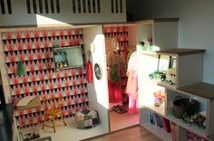 """Super fun girl's room set up. Bookshelf staircase to a loft bed with room below for a """"her-size"""" doll house. The wallpaper and full length mirror in the dress up room are awesome touches."""