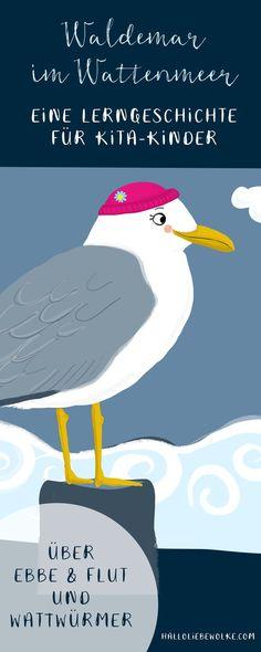 Waldemar ist ein Wattwurm. Und er macht kleine Häufchen, die wie Spaghetti aussehen. Darüber muss sich Prinzessin Blaublüte sehr wundern - und auch darüber, dass das Wasser plötzlich weg ist... Eine Geschichte für Kinder in Kita, Kindergarten und Vorschule zum Vorlesen: über Ebbe und Flut, das Wattenmeer und den Wattwurm Waldemar. #Kindergarten #Ideen #Gezeiten #Urlaub #Nordsee #Kindergeschichte #Kita #Idee #Wattenmeer #Wattwurm #Möwe #Kind #Kinder #Vorschulalter #Vorschule #Natur…
