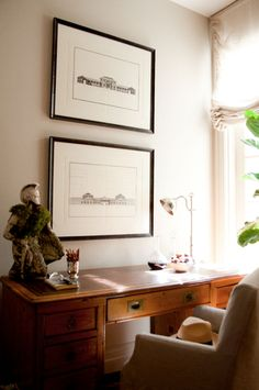 Vintage decor, a traditional timber desk and sun streaming through soft fabric blinds creates the perfect location to pen letters. For a thought provoking space to pen your thoughts like this nook by Property Lipstick visit www.myhuntergatherer.com  Property Lipstick Study