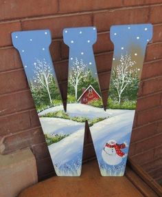 45 Easy DIY Dollar Store Christmas Decorations for Decorating on a Budget - The Trending House Christmas Canvas, Christmas Paintings, Christmas Art, Christmas Decorations, Christmas Letters, Xmas, Christmas Ornaments, Painting Wooden Letters, Painted Letters