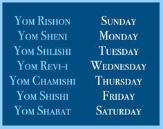 How to say the days of the week in Hebrew. #Hebrew #Israel #Learn