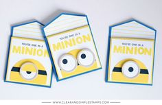 Clear and Simple Stamps | One in a Minion (mini note cards #minions