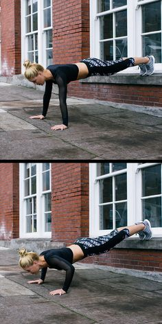 The elevated push up is an easy exercise to do outside the gym. Raise your feet up and lower your chest almost to the ground, breathing in as your go down—exhaling on the way up. More style inspiration after the click.