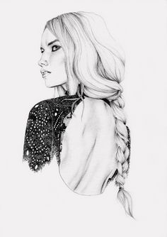 Fashion illustration, beautifully detailed pencil drawing // Karen aka Pocketheart