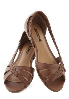 Twist Family Robinson Sandal in Chestnut - Flat, Faux Leather, Solid, Braided… Pretty Shoes, Cute Shoes, Me Too Shoes, Gold Sandals, Shoes Sandals, Flat Shoes, Soda Shoes, Shoe Pattern, Crazy Shoes