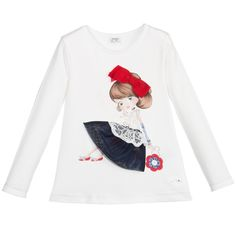 Girls Ivory Cotton Top with Diamanté Girl, Mayoral, Girl