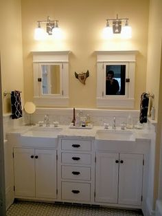 Such a great idea to use apron-front sink in a bathroom vanity. - aa | from Ben and Kate Renovate
