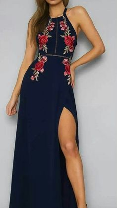 online shopping for Futurino Women Floral Embroidery Halter Open Back Tie Chiffon A-line Maxi Dress from top store. See new offer for Futurino Women Floral Embroidery Halter Open Back Tie Chiffon A-line Maxi Dress Navy Blue Prom Dresses, Pretty Dresses, Beautiful Dresses, Gorgeous Dress, Dress Skirt, Dress Up, Boho Dress, Dress Ootd, Bohemian Dresses