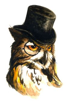 Owl with Top Hat / Gufo con cappello a cilidro - Art by Lorena Carvalho Owl Bird, Bird Art, Illustrations, Illustration Art, Steampunk, Wise Owl, Tier Fotos, Bird Prints, Fantasy Art