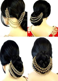 Three Row Jura Chain Pakistani Matha Patti Pearl Stone Indian Maang Tikka Bridal #AaroshZ