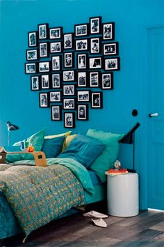 35 Cool Headboard Ideas To Improve Your Bedroom Design~love the colors and picture heart idea! 35 Cool Headboard Ideas To Improve Your Bedroom Design~love the colors and picture heart idea! Cool Headboards, Modern Headboard, Headboard Designs, Headboard Ideas, Picture Headboard, Wall Headboard, My New Room, My Room, Dorm Room