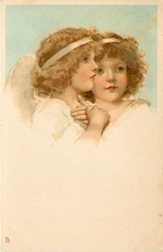 Two angels, one with hands crossed on chest.  Artist, Frances Brundage, 1904.