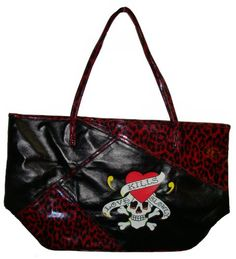 "Women's Large Ed Hardy ""Love Kills Slowly"" Handbag (Red/Black/ With A Skull)"