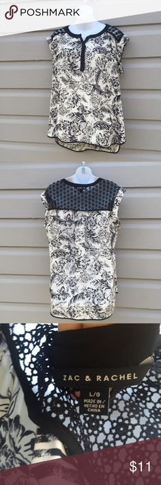 Boho black and white loose fit blouse Beautiful and easy size large boho blouse by Zac and Rachel. Graphic print and open crochet detail. Excellent pre-owned condition. So easy to match with a bold colored pant or denim. Nordstrom Tops Blouses